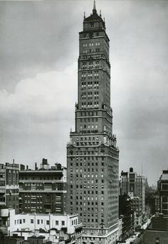 Emery Roth's majestic Ritz Hotel Tower, 1925.   New York city planners acted quickly as skyscrapers began to rise.   To keep from throwing Manhattan into darkness, buildings had to be 'set back' at specific altitudes.