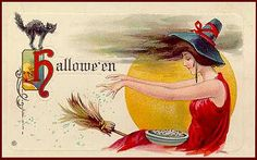 Lovely Wispy Sorceress Vintage Halloween Postcard