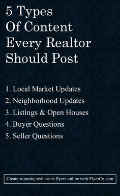 Learn the 5 types of content Realtors should be creating that buyers and sellers love to read. A great strategy to drive traffic to your website.