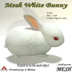 A garden is never complete without it's own bunny. This mesh highly detailed white bunny has an incredibly low land impact of 0.5. Link two and still only use 1 prim! So go ahead and make a bunny family to hop through your next garden or forest creation. Please read and adhere to the terms of use which apply to all full permission Fantasy China products.