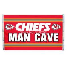 Kansas City Chiefs Man Cave Flag 3x5 FT Banner 100D Polyester NFL flag 133,