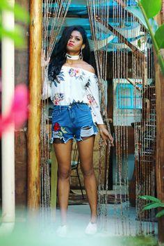 look da semana blusa zaful, colar choker, short sammydress bordado flor vermelha, sapato lightinthebox @sicaramos estilo proprio by sir