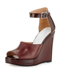 Leather Ankle-Wrap 105mm Wedge Sandal, Bordeaux