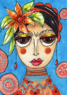 ACEO Original Painting Portrait Frida Kahlo Sunflowers R46 Art by Fairypiggles | eBay sold for $19.16