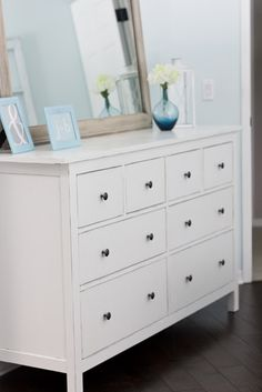 How to paint the brown Hemnes dresser white! and painted decorated vases