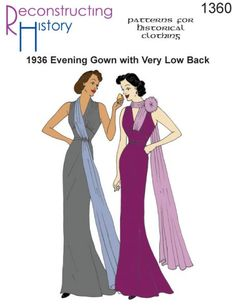 Find Art Deco dresses and Art Deco gowns. Metallic gold and silver gowns, black Art Deco cocktail dresses, history of Art Deco clothing. 1930s Fashion, Art Deco Fashion, Vintage Fashion, Vintage Clothing Display, Evening Gown Pattern, Art Deco Dress, 1930s Dress, Sailor Fashion, House Dress