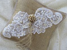 Very Pretty Burlap and Lace Decorative or Ring by levisnlace, $14.00