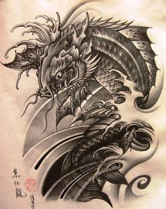 60 Awesome Tattoo Designs Men Sleeve Dragon 112 Half Sleeve Tattoos for Men and Women Dragon Tattoo Bazza Koi Dragon Tattoo, Dragon Koi Tattoo Design, Dragon Koi Fish, Koi Fish Tattoo, Japanese Dragon Tattoos, Japanese Tattoo Art, Japanese Tattoo Designs, Tattoo Designs Men, Fish Tattoos