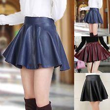 New Women Faux Leather Mini Skirt High Waist Flared Pleated Skater Short Dress