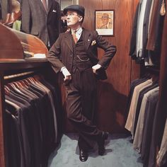 @h.arg in a 1930's three piece suit that he bought from us this spring. #vintage #mensvintage #mensfashion #menswear #vintagemenswear #1930s #3piecesuit #newsboycap #dandy #dapper #welldressed