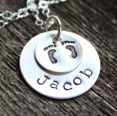 Personalized Mommy Necklace-Babbies Feet, Name Necklace, Hand stamped, Sterling Silver, Name Necklace | 2 Sisters Handcrafted