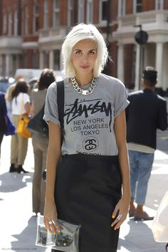 punk rock chic look with tshirt and skirt and super stylish