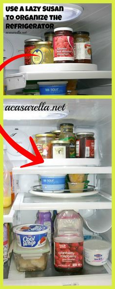 Such a smart idea for organizing your refrigerator ~ use lazy Susans.  http://www.hometalk.com/l/Gg1