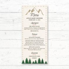 Tribal Adventure Mountains Printable Menu Card by CrissyDesignCo Card Wedding, Wedding Favors, Wedding Bouquets, Bridal Bingo, Bridal Shower Games, Printable Menu, Chic Bridal Showers, Whats In Your Purse, Menu Cards