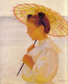 William McGregor Paxton (1869-1941)      Child in Sunlight, The Chinese Parasol      1908