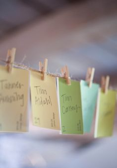 Pin for Later: 33 Awesome Ways to Upcycle Paint Chips Paint Chip Escort Cards Turn paint chips into totally cute shabby-chic escort cards.  Photo by Emily Steffen Photography via Wedding Chicks