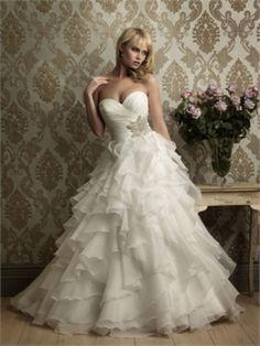 Natural Waist Ruffled Skirt Ruched Sweet Heart Neckline Dress
