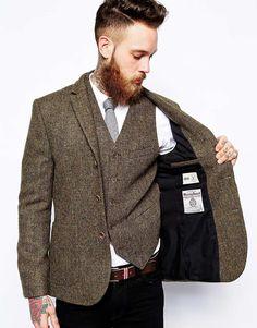Asos Slim Fit Blazer in Harris Tweed in Khaki for Men