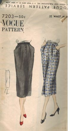 7203 Vintage Vogue Sewing Pattern Misses 1940's Buttoned Front Skirt Pleated OOP