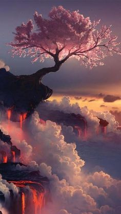 Cherry blossom tree at the Fuji volcano, lava, tree, clouds, smoke, colour…