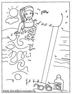 coloriage point a point fille et sa planche de surf