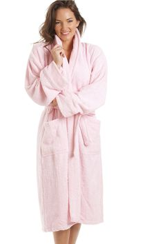 3f8d328256 Luxury Light Pink 100% Cotton Towelling Bath Robe Pink Baths