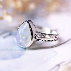 Moonstone Ring - Ornamented Teardrop - Moonstone Magic