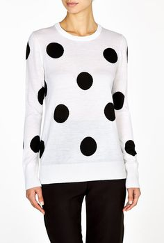 Shane Polka Dot Crew Neck  Sweater by Equipment Cute Sweaters efc74b279d5