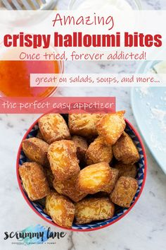 Life-changing fried halloumi bites - one of these little bites and you'll be addicted forever! #halloumi #halloumicheese #Greekfood #Greece #appetizers #easyappetizer #friedhalloumi #scrummylane #halloumifries Easy Meals For Two, Quick Easy Meals, Quick And Easy Appetizers, Easy Desserts, Greek Recipes, Easy Recipes, Fried Halloumi, Best Party Food, Healthy Family Meals