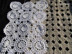 50 pcs vintage crocheted doilies & runners, huge old crochet lace doily lot