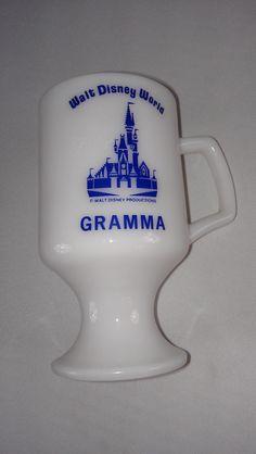 Walt #Disney World #70s Pedestal Milk Glass Mug Cup http://etsy.me/1QXg4eW #Gramma #vintage #etsy #tbt #gifts
