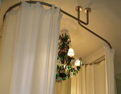 GalboTwins: support ovale de rideaux de douche pour baignoire ilot - Barres de rideau de douche en fixation au plafond.