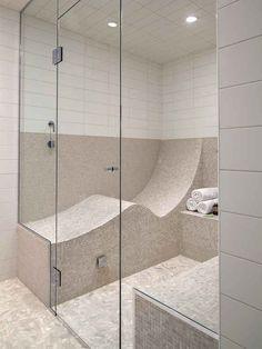 Transforma tu ducha o cuarto de vapor en un baño en el que puedas ACOSTARTE instalando un asiento en forma de S:
