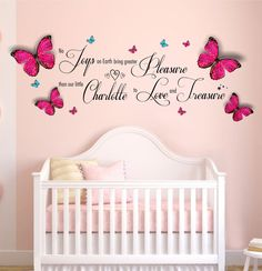 Personalised Name, No Joys Quote, with 3D Butterflies, Wall Art Sticker. Nursery