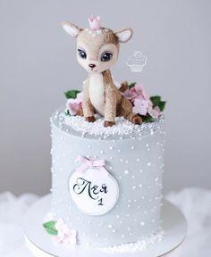 Baby Girl Birthday Cake, Cute Birthday Cakes, Beautiful Birthday Cakes, Baby Girl Cakes, Beautiful Cakes, Cake Designs For Kids, Deer Cakes, Animal Cakes, Birthday Cake Decorating