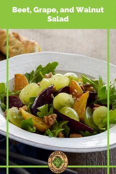 Roasted beets, arugula, walnuts, grapes from California, and a light dressing make up this healthy, vegan salad recipe. #beetrecipes #beetsalad #beetsrecipe #beets #recipes #roasted #dressing #arugula #vegan #recipeshealthy #easy #veganrecipes #glutenfreerecipes #glutenfree #glutenfreedairyfreerecipes #dairyfreerecipes #cleaneatingrecipes #cleaneating #paleorecipes #paleo Grape Recipes, Beet Recipes, Clean Eating Recipes, Summer Recipes, Fall Recipes, Vegetarian Recipes, Healthy Recipes, California Food, Salads