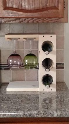 woodworking - Wine rack with Stemware holder Countertop model Wood Pine or Dark Stain Espresso