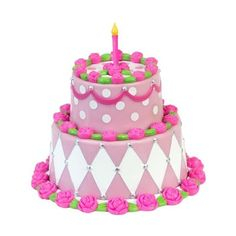 """Sophia's Miniature Two Tiered Cake, Sized for 18"""" Dolls Detailed Pink... (99 MAD) ❤ liked on Polyvore featuring birthday"""