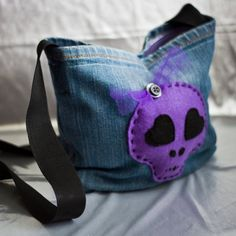 Skull Denim Bag by HandmadeByZombies on Etsy