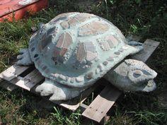 This piece of turtle garden art can be recreated using #QUIKRETE Mortar Mix.  #LawnOrnament #Yard&Garden #CementDecor #WhatAmericaIsMadeOf