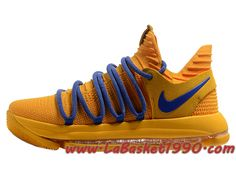 promo code e27d8 9a46a Nike Zoom KD 10 EP Chaussures de BasketBall Pas Cher Pour Homme Jaune Bleu