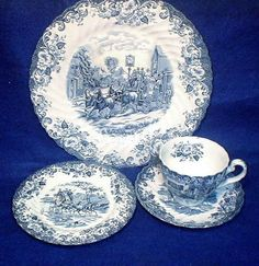 Johnson Bros. Blue and White China 4 Piece by SwedishGalsAttic, $22.00