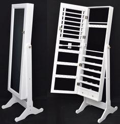 Armario Tocador Con Espejo, Guarda Joyas Blanco 148 Cm Nuevo