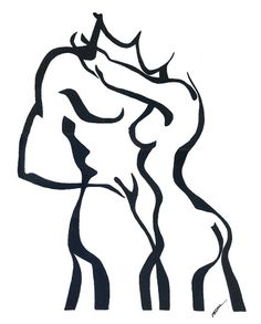 Abstract Nude Man and Woman, Black and White Original Painting on Etsy, Art Original, Original Paintings, Man And Woman Silhouette, Silhouette Painting, Exotic Art, Black And White Painting, Woman Painting, Face Art, Amazing Art