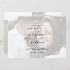 Modern Script   Faded Horizontal Photo Wedding Invite in a simple white and black design featuring unique industrial lettering typography for a bohemian style wedding. Click to customize with your personalized details today.
