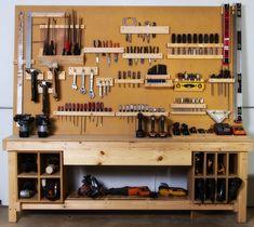 BUILD Workshop – home office organization diy Garage Workshop Organization, Garage Tool Storage, Workshop Storage, Garage Tools, Diy Storage, Organization Ideas, Garage Shop, Workbench Organization, Fridge Organization
