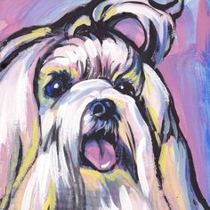 Heres a wonderful, bright, fun, tribute to your best friend and favorite breed- the Maltese!   printed from an original painting by Lea  Your print