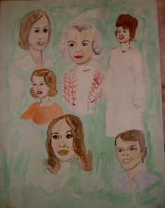 Painted between ages 11-14, this is a family portrait I attempted.