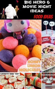 Big Hero 6 Movie Night Ideas - Yummy foods for a Big Hero 6 movie night or Big Hero 6 birthday party! #crafts #diy