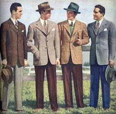 This image represents 1950's men's dress because of the jacket, waistcoat, and tie. Also the Fedora style hat.